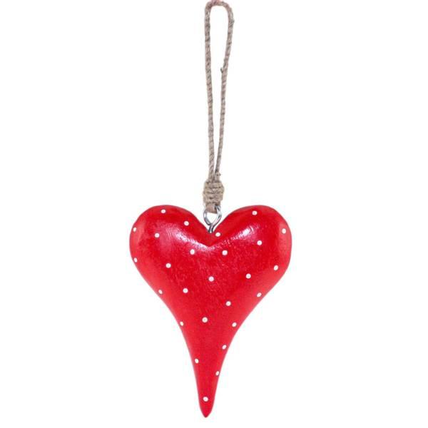 Bilde av Rødt hjerte av tre m. hvite prikker, oppheng,