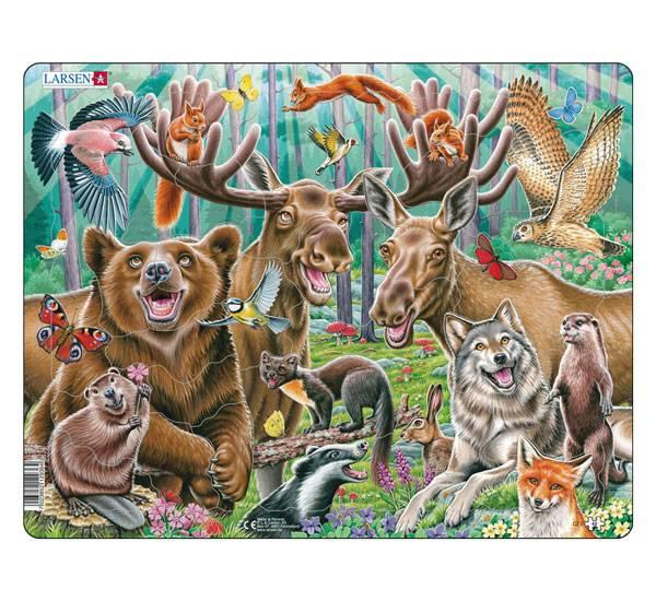 Bilde av Puslespill, Selfie lykkelige skogsdyr,42 brikker