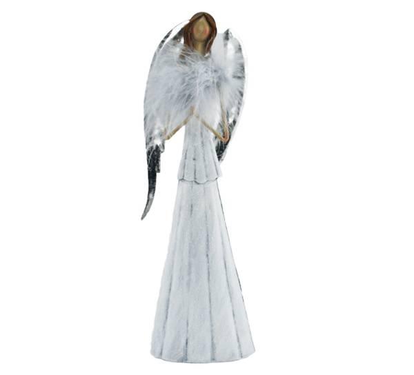 Bilde av Engel med fjær, stor, hvit med sølvvinger metall.