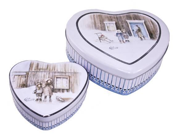Bilde av Kakebokser i hjerteform Vinterbarn sett a 2