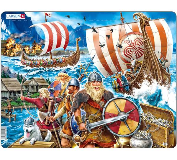 Bilde av Puslespill  vikinger i kamp 65 brikker