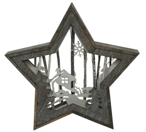 Bilde av Stjerne med hytte, liten, Ledlys