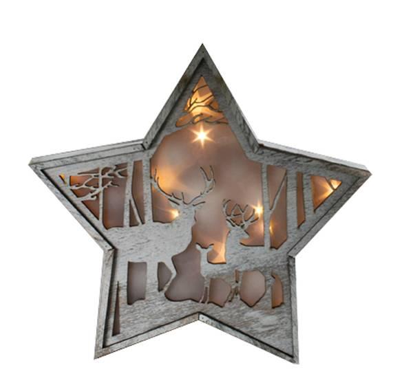 Bilde av Stjerne, hjort i stjernedryss, liten, Ledlys