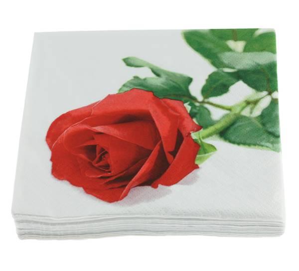 Bilde av Servietter, rød rose