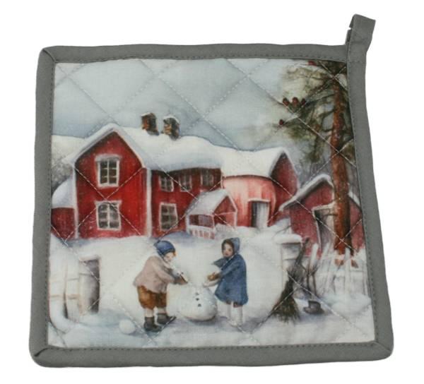 Bilde av Gryteklut Vinterbarn - Barn lager snømann