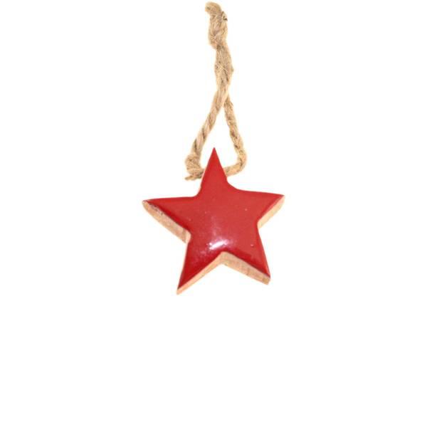 Bilde av Rød blank stjerne av tre, for oppheng,  F-design