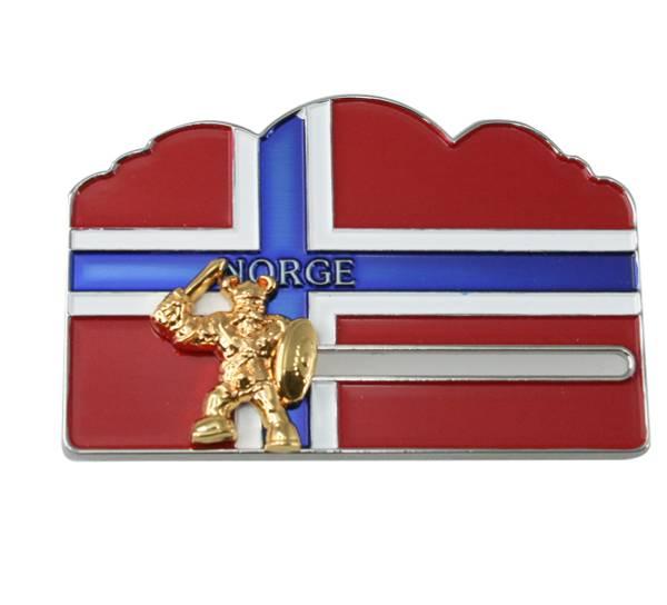 Bilde av Magnet norsk flagg m. gull viking