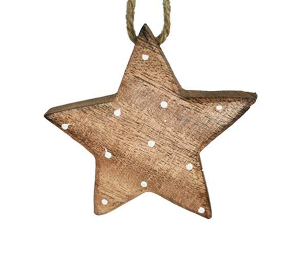 Bilde av Stjerne av tre med hvite prikker, stor, for