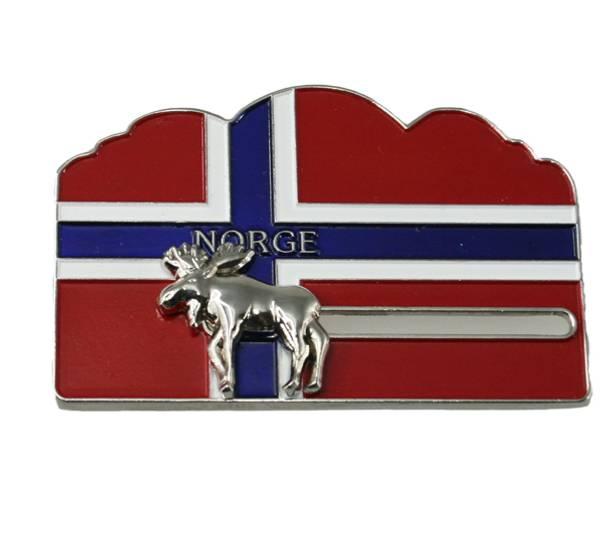 Bilde av Magnet norsk flagg m. sølv elg