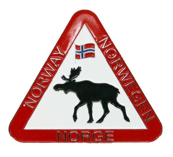 Bilde av Magnet, trekantskilt med elg og flagg