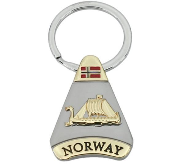 Bilde av Nøkkelring, trekant, gull/ sølv, Vikingskip